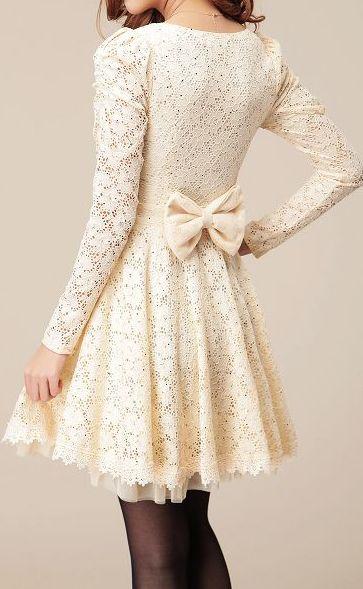 Lace bow back dress.