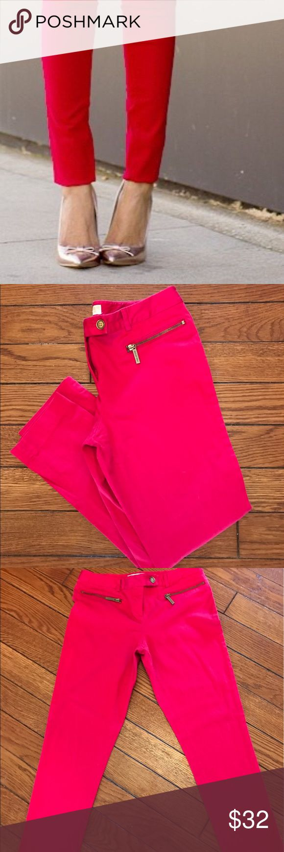 Michael Kors red skinny pants Michael Kors red, skinny pants.  Good used condition, zipper pockets in front.  26 inch inseam, 30 inch waist, 35 inch hips. KORS Michael Kors Pants Skinny