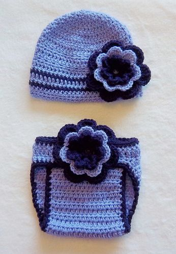 Crochet baby purple flower diaper cover and hat set