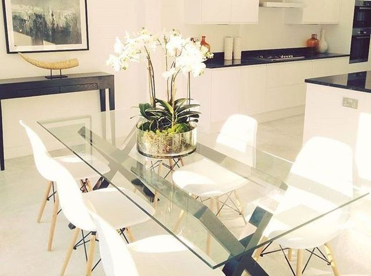46 Elegant Dining Room Glass Table Decor Ideas Glass Dining Room Table Glass Dining Table Decor Dining Room Table Centerpieces