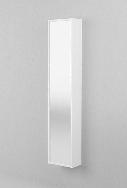 Aspen. Kaksiosainen peilikaappi, Käännettävä peili, takana hyllyt, peili ja alaslaskettava meikkihylly.