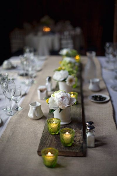 tea lights interiors - love that idea of using a long piece of reclaimed wood to place your centerpieces