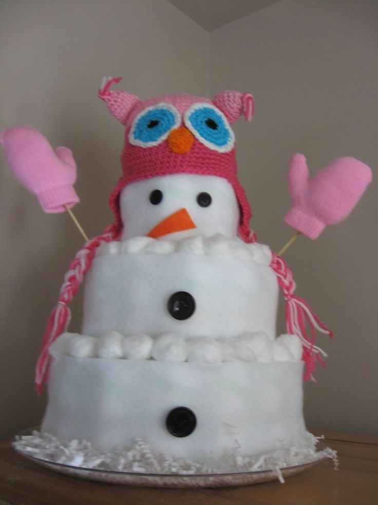 Owl Snowman Large Diaper Cake GIRL OR BOY SEE LISTING crotchet hat CENTERPIECE