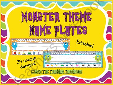Monster Theme Name Plates ~ 34 Unique Designs ~ Editable from The Teaching Treehouse on TeachersNotebook.com (17 pages)  - These adorable desk name plates will go great with any monster theme classroom décor! With 34 different designs, each of your students can have a unique name plate! Each name plate includes upper and lowercase letters, numbers 1-20, and 11 shapes and colo