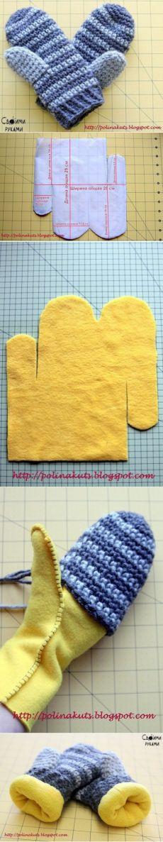 Варежки крючком на флисовой подкладке