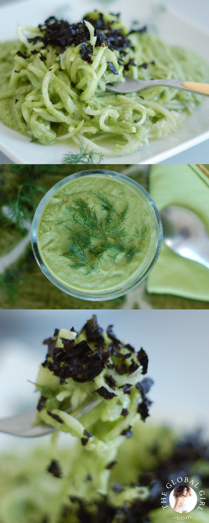 The Global Girl Raw Food Recipes: Cucumber Pasta with Creamy Avocado Sauce and Nori Flakes. Perfect balance of light, refreshing, cleansing and filling. Plus it's an avocado extravaganza!