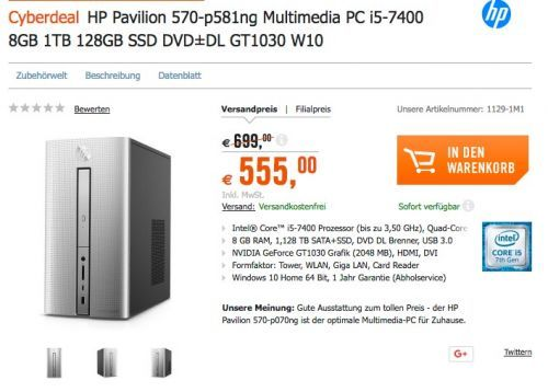 #HP Pavilion 570-p581ng Multimedia PC i5-7400 8GB 1TB 128GB SSD DVD±DL GT1030 W10 für 555,00€ (statt 699,00€) https://www.billigerfinder.de/computer-und-buero/1518084325551-hp-pavilion-570-p581ng-multimedia-pc-i5-7400-8gb-1tb-128gb-ssd-dvd-dl-gt1030