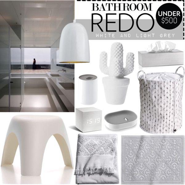 """BATHROOM REDO WHITE AND LIGHT GREY"" by tiziana-melera on Polyvore"