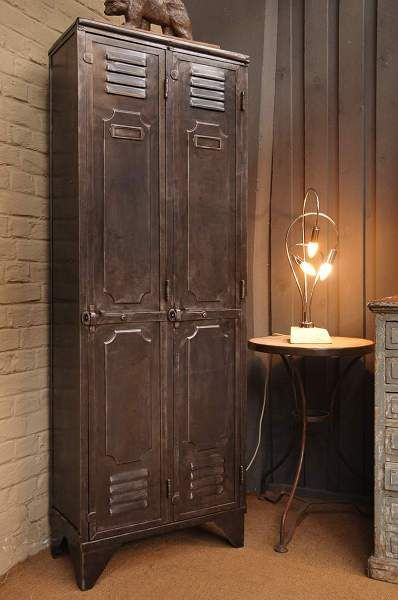 Salvaged & Repurposed: Vintage Lockers...this one looks like it was painted to blend with the decor, still has an aged look