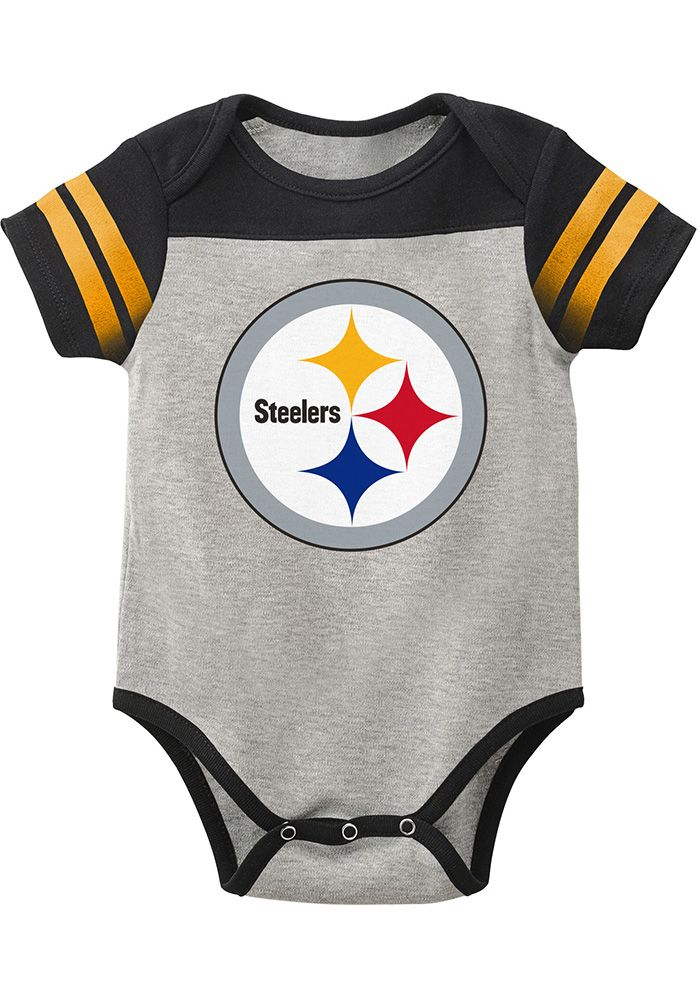 Pittsburgh Steelers Baby Grey Lil Blocker 2.0 Short Sleeve One Piece -  Image 1 6e74335fd
