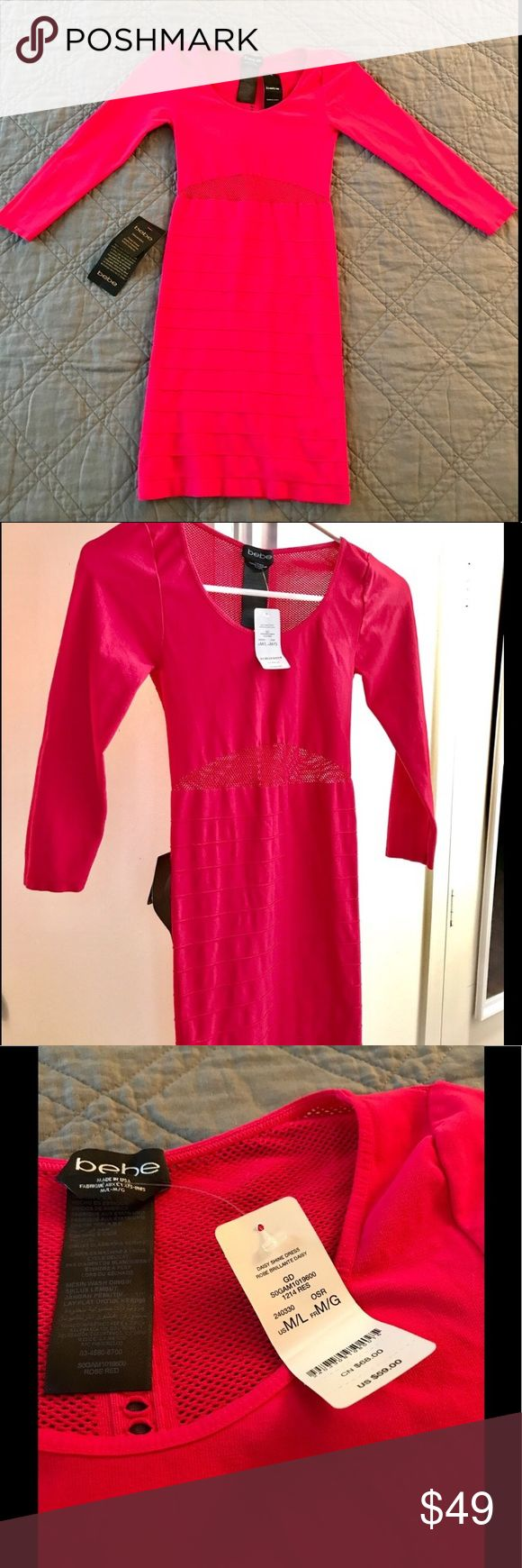 BEBE Bodycon Dress Hot Pink Daisy RARE NEW Hot Pink Daisy Mesh Bebe Bodycon Dress. Excellent for a night out. Size M/L. Original price $59. Rare - Bebe no longer makes it. Vibrant hot pink color. Excellent for a night out. Head-turner and neck-breaker. New with original tags. Gorgeous find! bebe Dresses