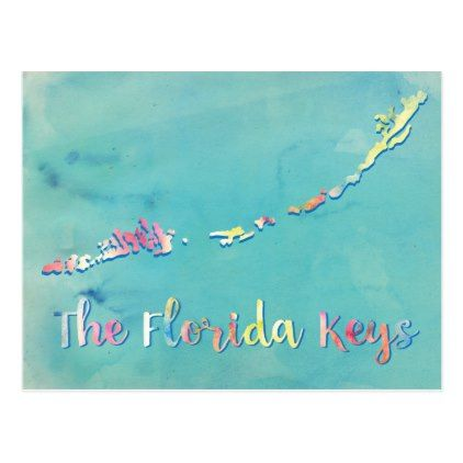 Map of the Florida Keys in watercolor Postcard - artists unique special customize presents