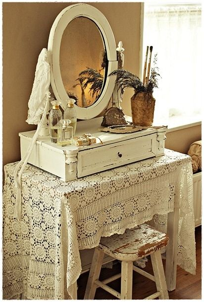 Vintage Dressing Table with Old Lace Cloth