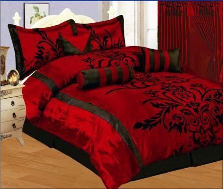 7 Pc Modern Black Burgundy Red Flock Satin Comforter Set Bed In A Bag King  Size Bedding 7