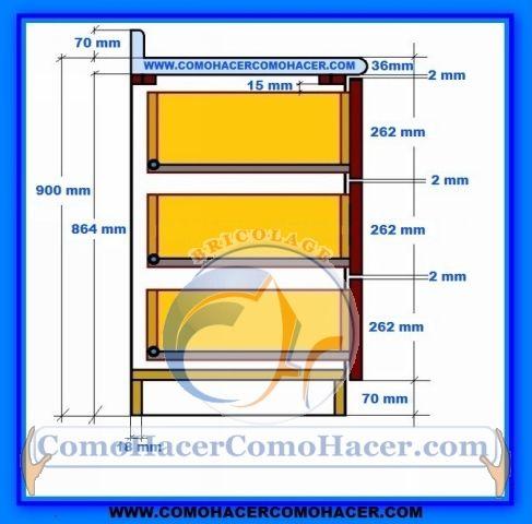 Muebles de cocina detalle para instalar cajones for Dimensiones cocina integral