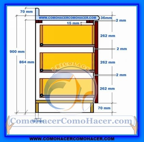 Muebles de cocina detalle para instalar cajones for Planos de muebles de cocina pdf