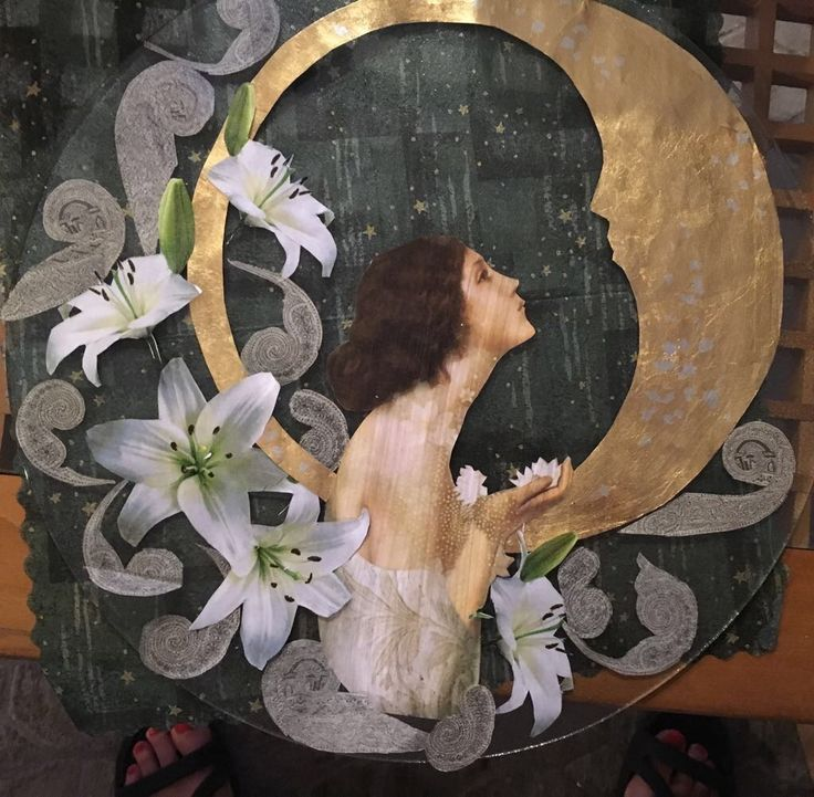 Lynn composed this stunning design onto glass using photocopied paper, serviettes and handmade paper background. The moon was goldleafed onto the photocopy and shellacked to stop tarnishing under the glass. Under glass, this design pops and comes alive. Very beautiful.
