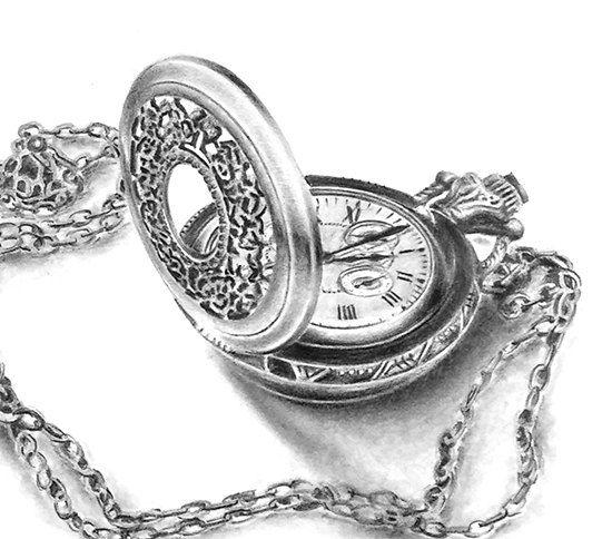 Pocket watch art clock art still life drawing by ...