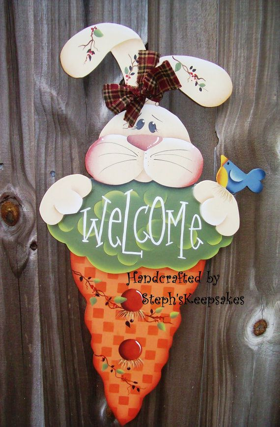 Handpainted Welcome  Spring Bunny,EASTER Hand Painted Wood Sign,  Home Decor, Spring,  Kitchen, Bathroom, Living Room, Garden, Wall Hanging