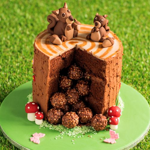 This Squirrel Pinata Cake is a triple layer chocolate cake covered in chocolate butter icing filled with Ferrero Rocher chocolates. This is real showstopper to wow your family and friends.