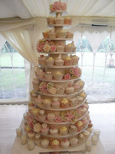 If you want a cupcake wedding cake!  I really like this one it looks elegant
