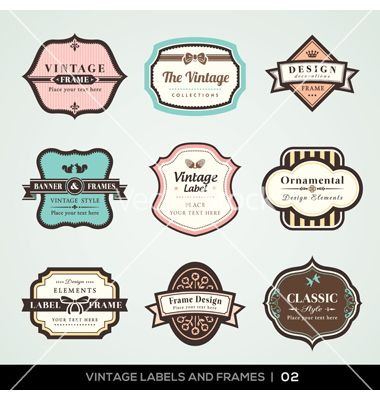 Vintage labels and frames vector by kraphix on VectorStock®
