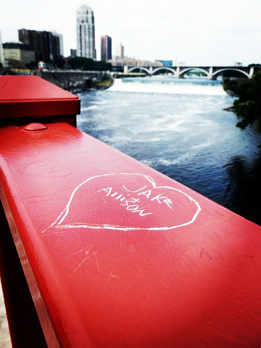 Love By Mississippi River - Sometimes when we are in love, we want the whole world to know. I saw this on the Mississippi River bridge, wondering the story behind it and how happy that couple were when they recorded their love by Mississippi River.