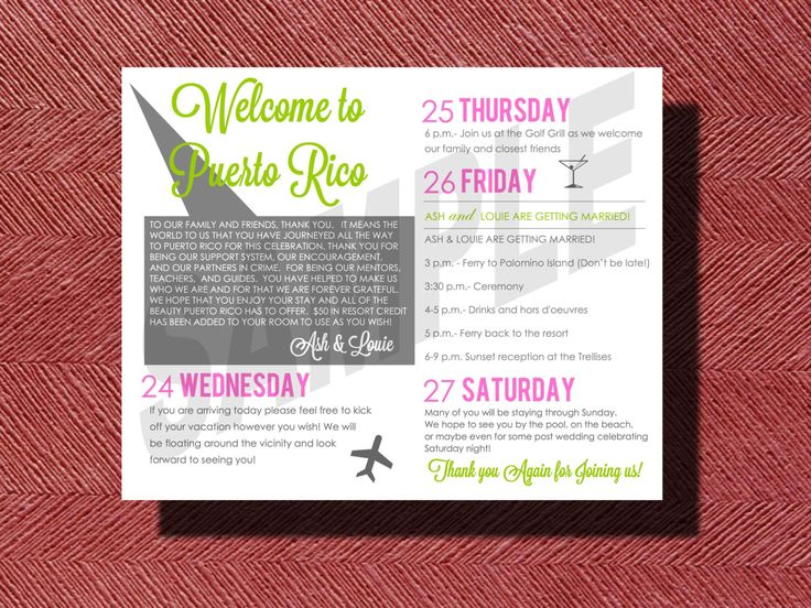 Wedding Weekend Itinerary, Puerto Rico Destination Wedding Welcome Note and Wedding Weekend Itinerary by WeddingsByJamie on Etsy https://www.etsy.com/listing/206564711/wedding-weekend-itinerary-puerto-rico