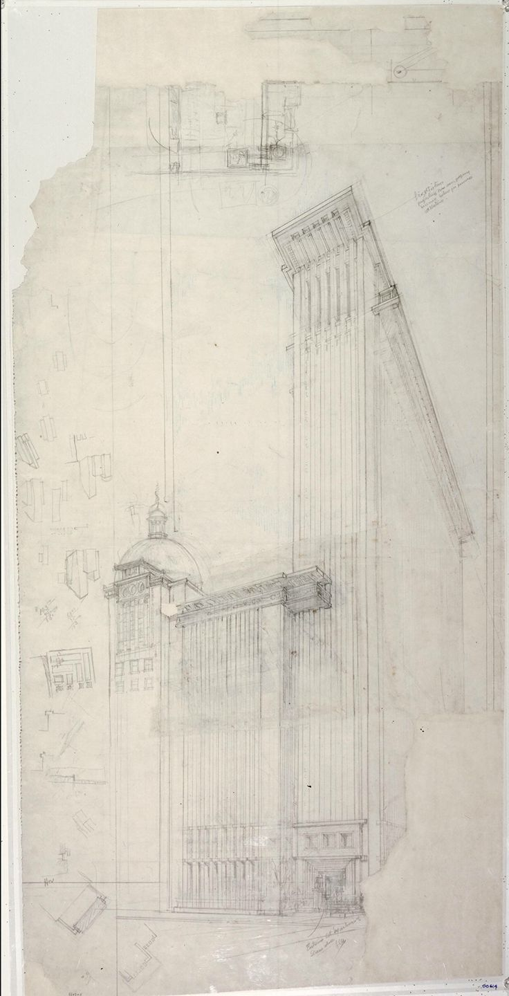 Frank lloyd wright american 1867 1959 the san for Paper for architectural drawings
