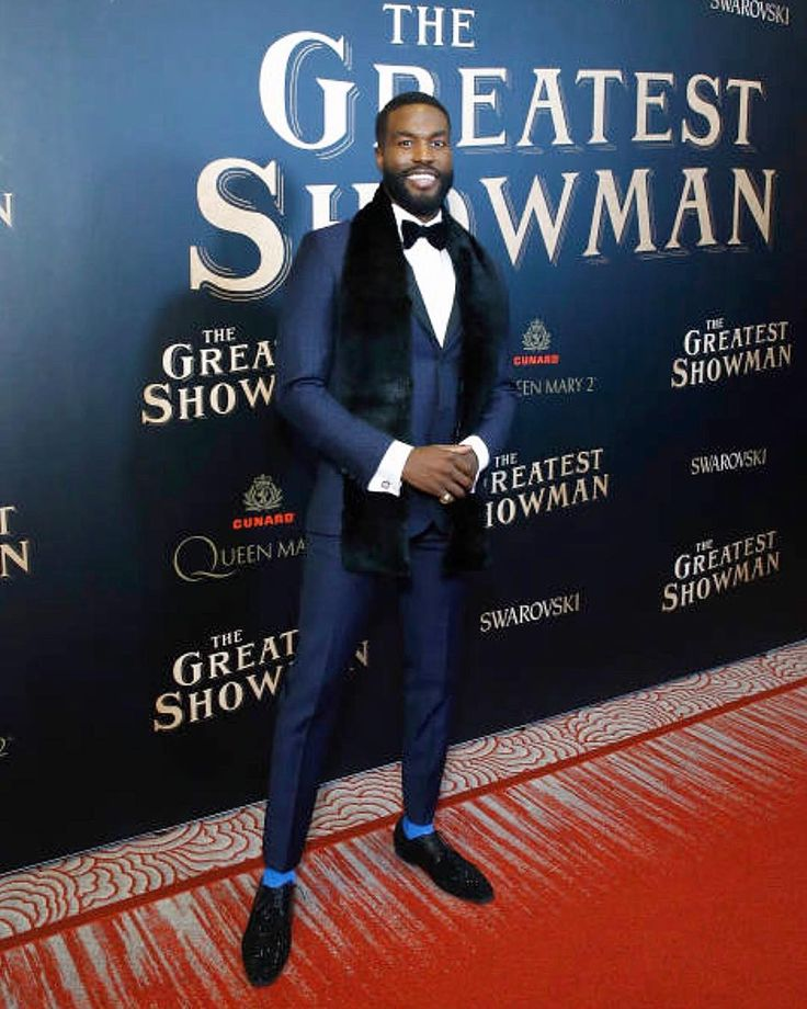 Yahya at the premiere of The Greatest Snowman wearing Stephen F