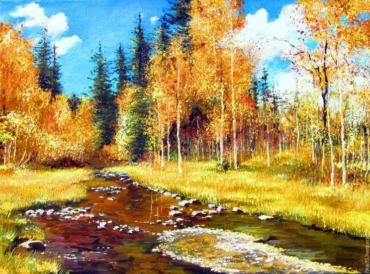 Купить Тихое очарование - осень, природа, осенний пейзаж, купить подарок, купить картину маслом