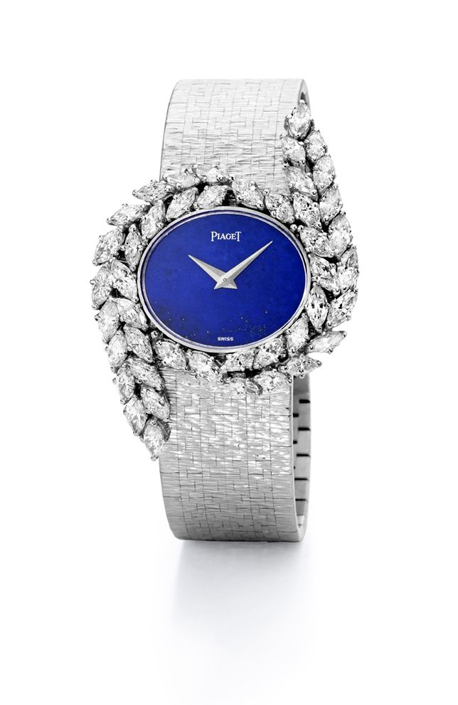 *****Jewelry watch in white gold set with 44 marquise-cut diamonds and Lapis Lazuli dial. Vintage from 1977