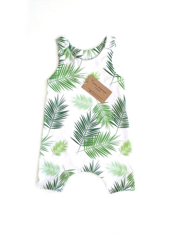 Baby romper, palm leaf romper, green palm leaves, gender neutral romper, baby boy overalls, harem romper, baby onsie NB - 3 years PREORDER