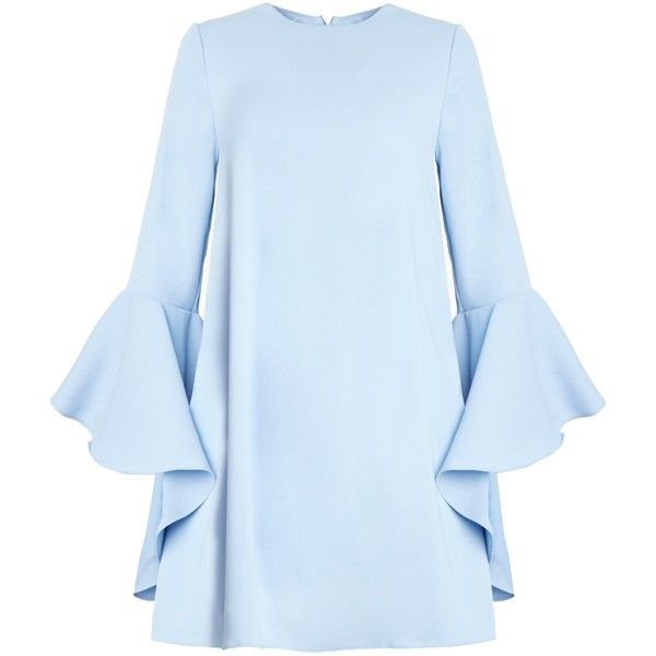 Blue Ruffled Bell Sleeve Babydoll Dress by New Revival (1170 MAD) ❤ liked on Polyvore featuring dresses, flared sleeve dress, babydoll dress, ruffle dress, frilly dresses and blue baby doll dress