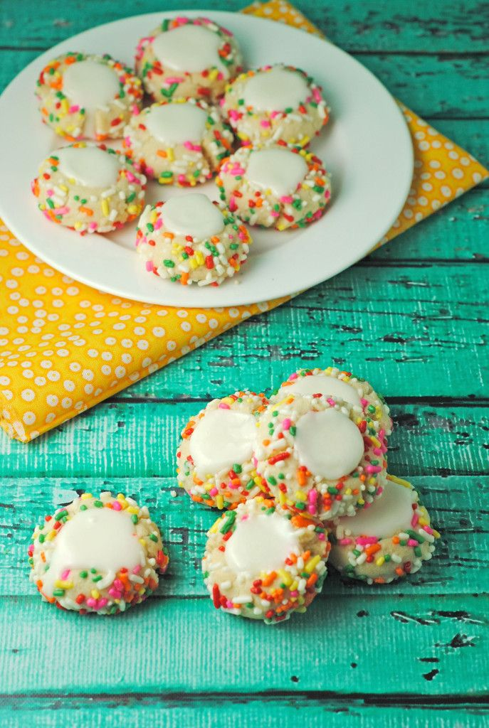 Rainbow Sprinkle Thumbprint Cookies...did I just stumble upon my Smith's fix?!