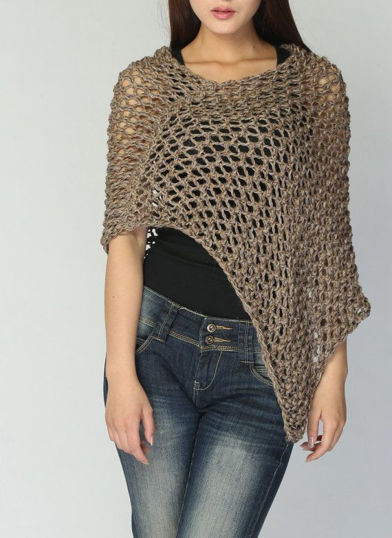 This loose weaved beautiful poncho is made of 100% eco cotton in nice Mocha shade. It is a perfect item for Summer/ Fall that you want to feel a little warmer on a morning or evening. It also can be wear in winter as a scarf. Size: one size fit most. (US 0-10). If you want extra large size, pls. convo me for details.  Hand wash only and lay flat to dry.  I have other colors for this poncho. Pls. Check my shop for details: http://www.etsy.com/shop/MaxMelody?section_id&...