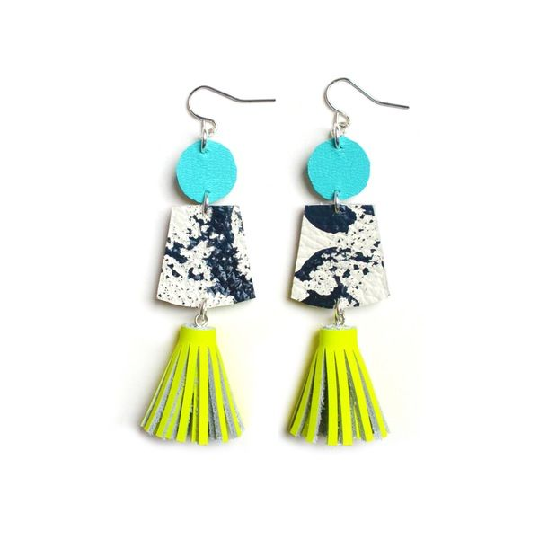 Black and White Marbled Leather Earrings with Neon Yellow Tassels