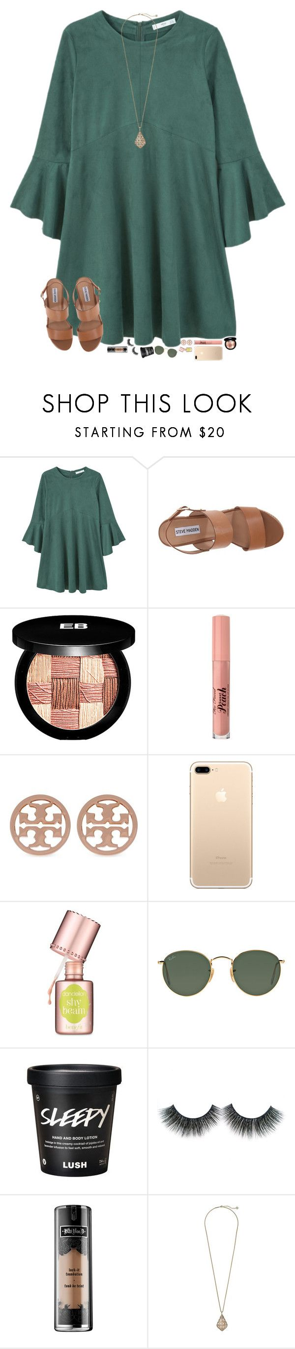 """shopping today with my besties "" by hopemarlee ❤ liked on Polyvore featuring MANGO, Steve Madden, Edward Bess, Too Faced Cosmetics, Tory Burch, Benefit, Ray-Ban, Kat Von D and Kendra Scott"
