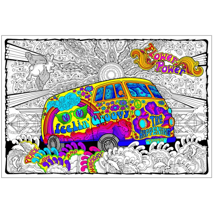Doodle Art Coloring Poster Love Bus Giant 22 X 32 5 Inch Line