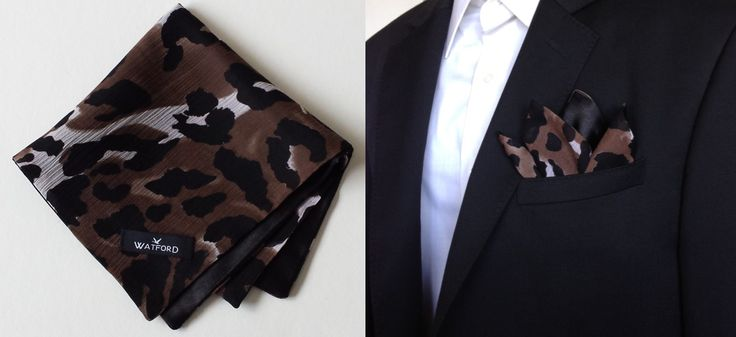 Leopard print in Georgette with Black Satin - Pocket Square (Double-sided)