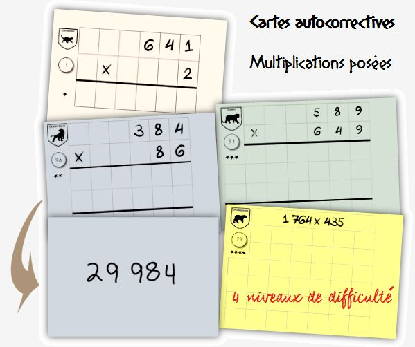 96 cartes auto-correctives Multiplication posée - Craie hâtive