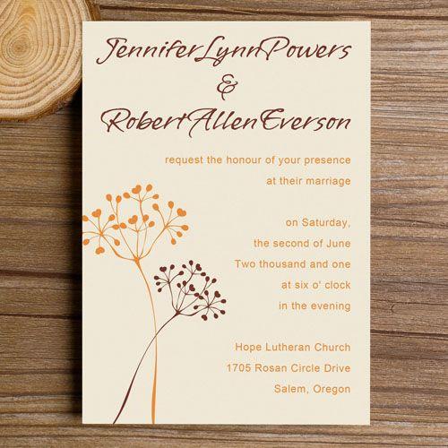 Neutral Dandelion Bohemian Wedding Invitations EWI275