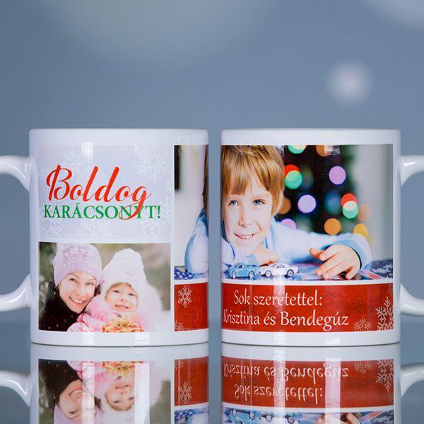 Egyedi fényképes karácsonyi bögreLepje meg szeretteit, ismerőseit, barátait ezzel az egyedi, karácsonyi motívumokat tartalmazó fényképes bögrével. A bögrén kettő - különböző méretű - fénykép is elhelyezhető, melyek alatt egy pár soros üzenetnek is helyet hagytunk, így teljesen személyre szóló ajándék kész&...