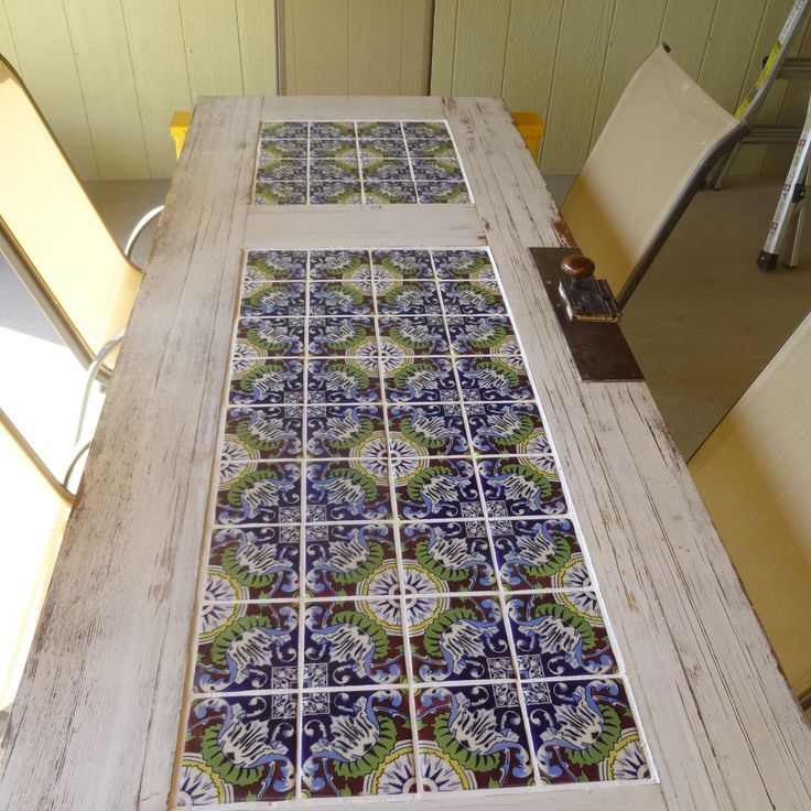Tile And A Old Door Patio Table Backyard Landscaping Ideas Pinterest