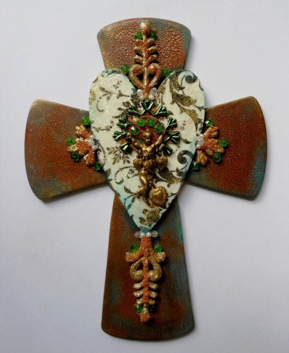 CROSS OOAK heart hand painted found object mixed media beaded decoupage paper beaded embellished wood cross