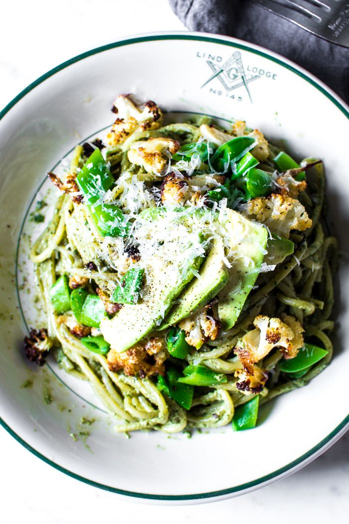 Roasted Cauliflower, Snap Pea, and Avocado Pasta with a Walnut Basil Pesto | The Flourishing Foodie | Bloglovin'