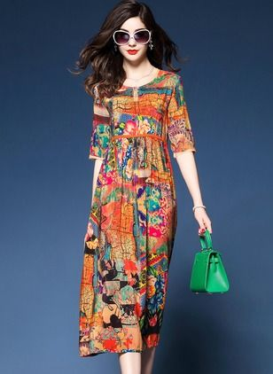 Polyester Floral Half Sleeve Mid-Calf Casual Dresses