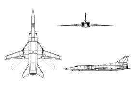 Le Tupolev Tu-22M est un bombardier supersonique à géométrie variable et long rayon d'action développé par l'Union soviétique. Un petit nombre d'entre eux reste en service dans les états de la CEI.  Vitesse maximale : 2 300 km/h Masse : 54 000 kg Longueur : 42 m Distance franchissable : 5 100 km Envergure : 34 m Premier vol : 30 août 1969 Types de moteurs : Turboréacteur, Kouznetsov NK-25