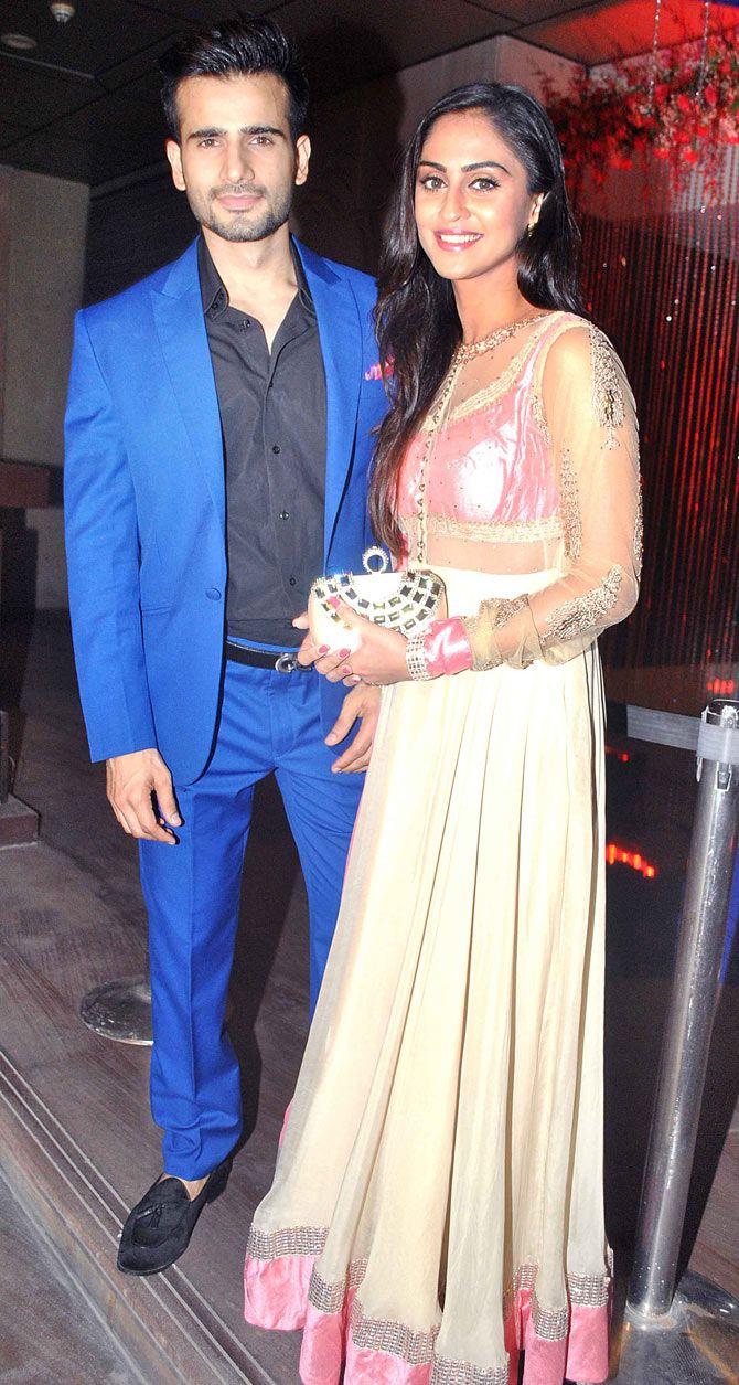 Karan Tacker and Krystle D'Souza at Karan Patel and Ankita Bhargava's sangeet. #Bollywood #Fashion #Style #Beauty
