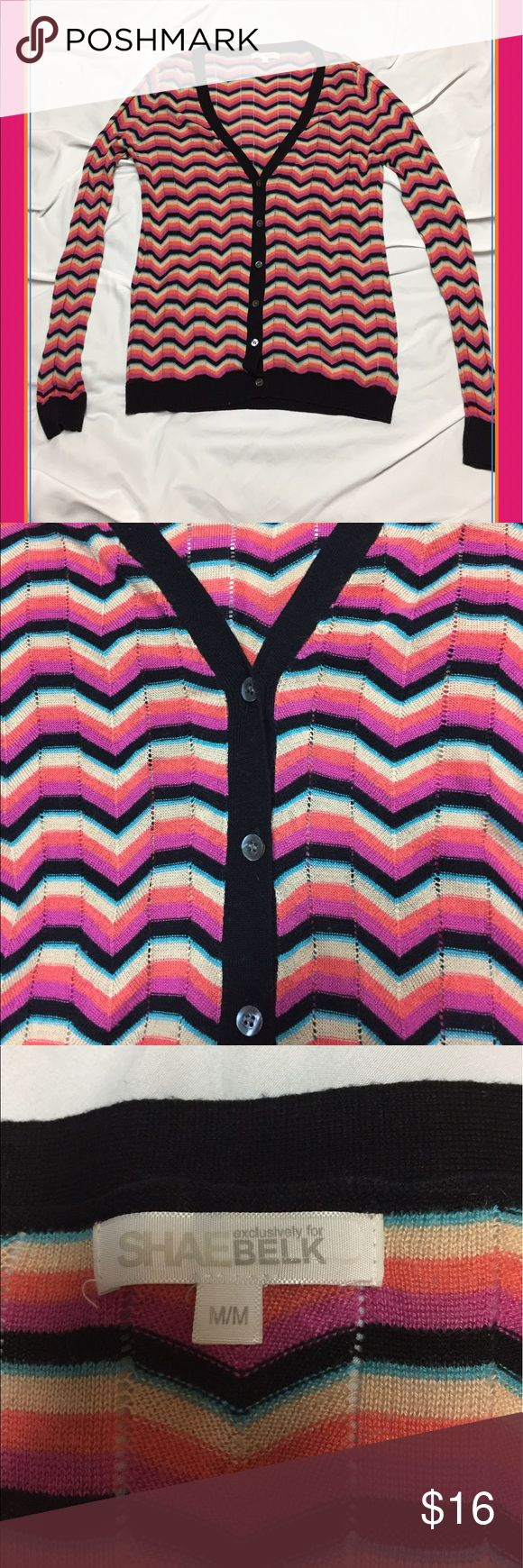 Rainbow Chevron Print Cardigan. Adorable Rainbow, Chevron Print Cardigan. Very Lightweight and Perfect for Throwing Over A Summer Dress! Shae For BELK Sweaters Cardigans
